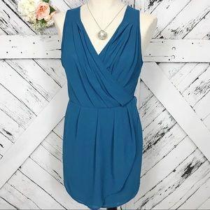 Windsor   Teal Blue Cross Back Drape Dress